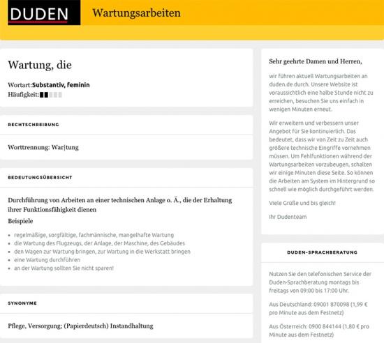Wartungsarbeiten auf www.duden.de
