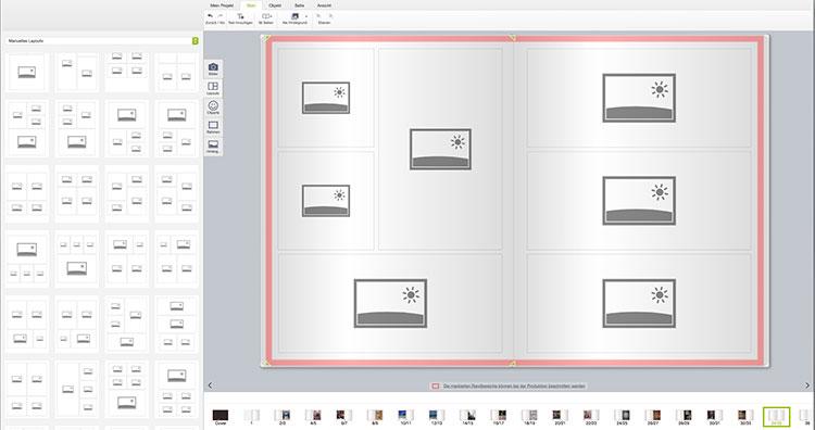 Layout-Auswahl für Bildplatzierungen auf einer Doppelseite